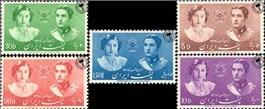 عروسی محمدرضا شاه پهلوی و فوزیه اسکناس و تمبر ایران